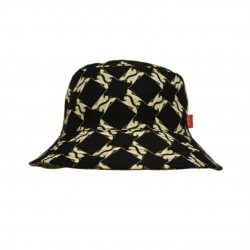 Reversible Bucket Hat Black/Gold Lion Pattern