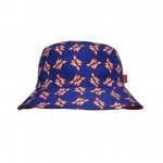 Reversible Bucket Hat Blue/Red Lion Pattern