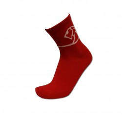 Men's Red Low Cut Socks With White Lion Wrap