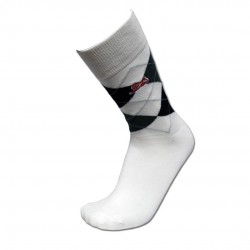 Men's White Argyle Sock